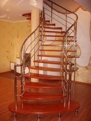 Деревянные лестницы и огрждения из нержавеющей стали